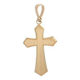 Cross pendant 18-carat yellow gold satin-finished wood effect 0.9 gr s1