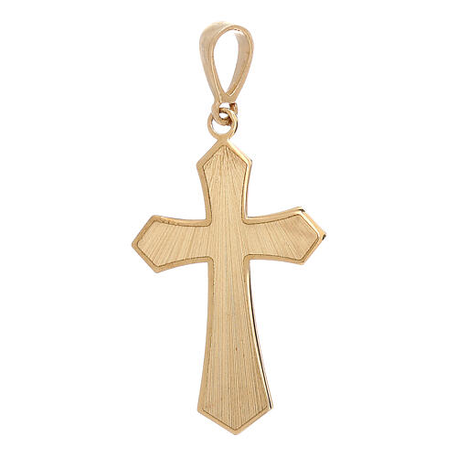 Cross pendant 18-carat yellow gold satin-finished wood effect 0.9 gr 1