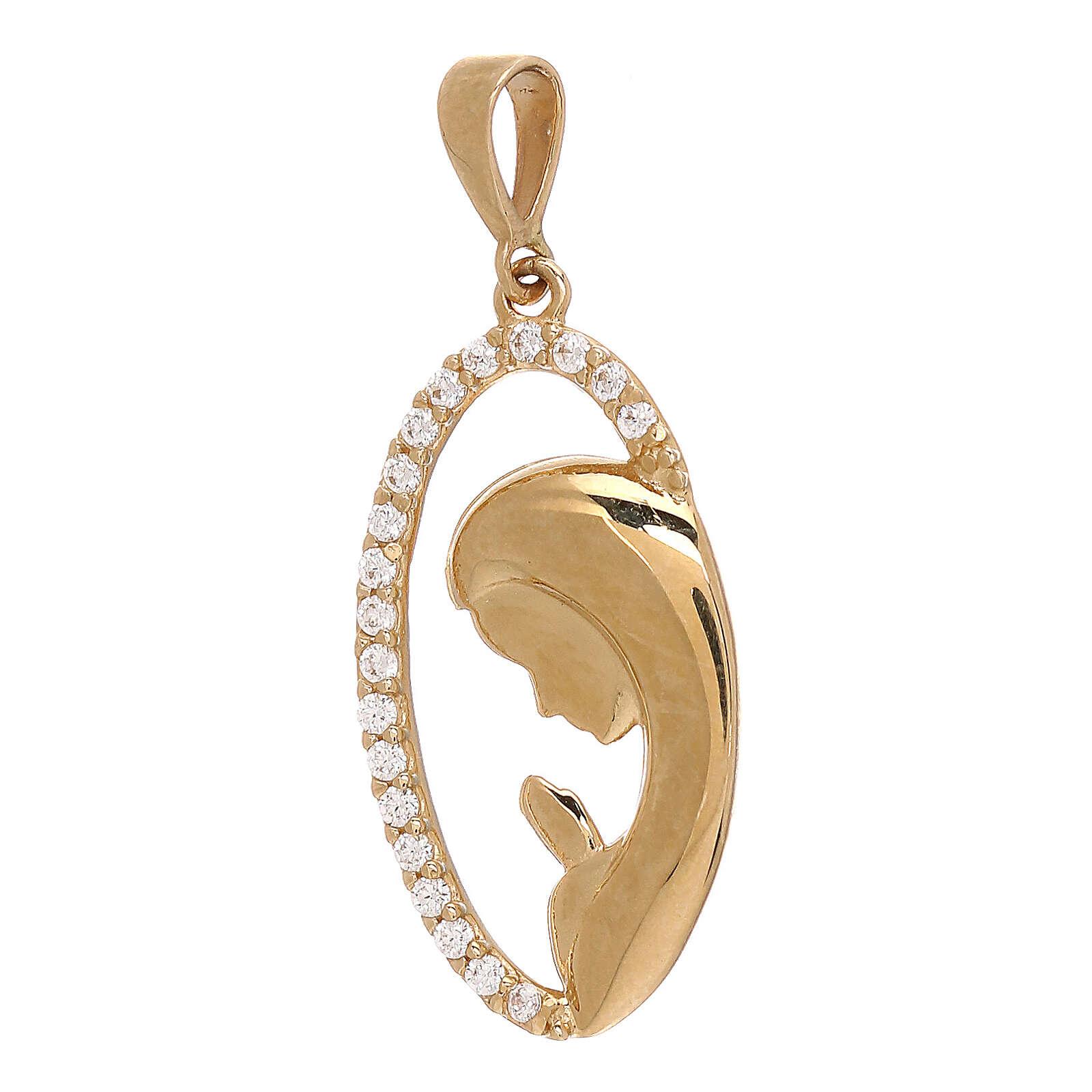 Pendente ovale Madonna oro giallo Swarovski bianchi 1,65 gr 4