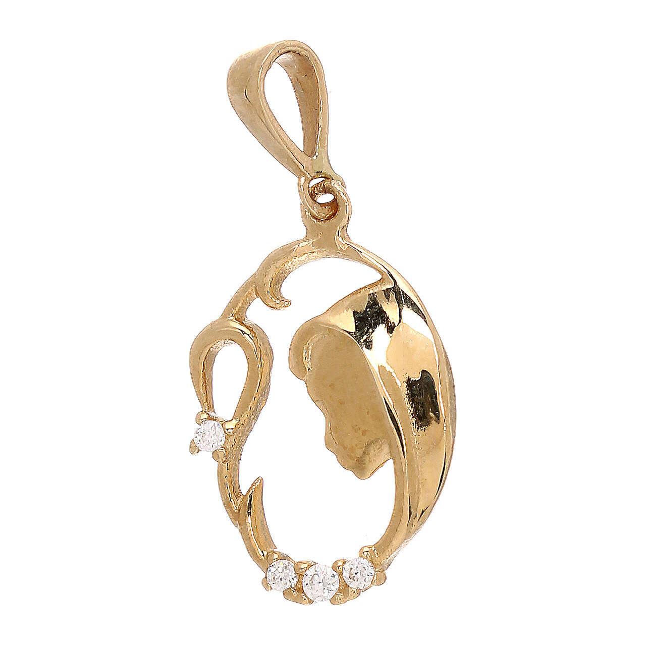 Pendente oro giallo 750/00 Swarovski Madonna rami 1,1 gr 4