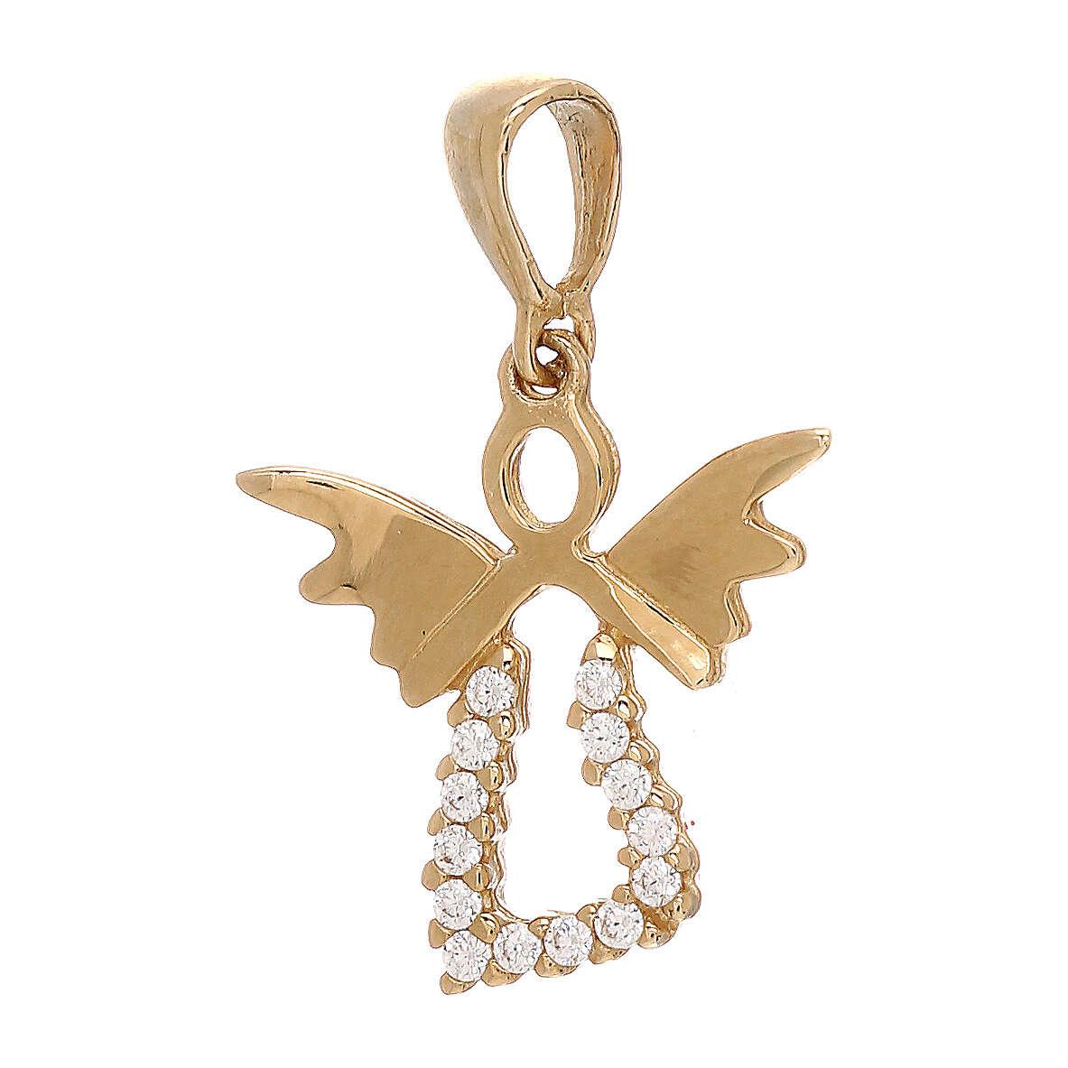Pendente angelo stilizzato oro 18 kt traforato Swarovski 1,15 gr 4