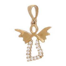 Pendente angelo stilizzato oro 18 kt traforato Swarovski 1,15 gr s1
