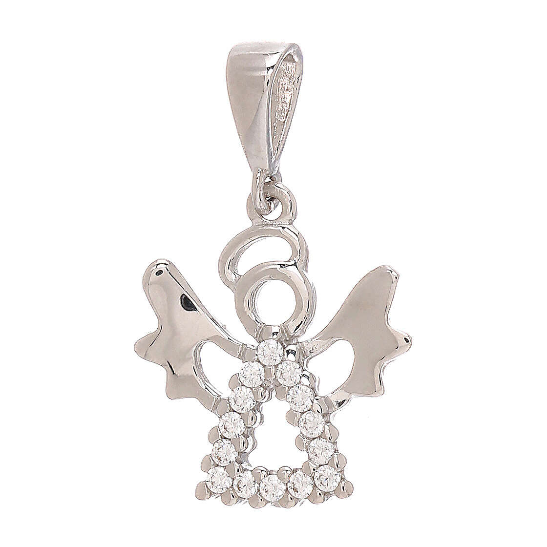 Colgante angelito Swarovski oro blanco 18 k perforado 4