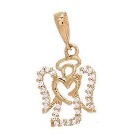 Pendente angelo cuore oro giallo 750/00 Swarovski 1,2 gr s1