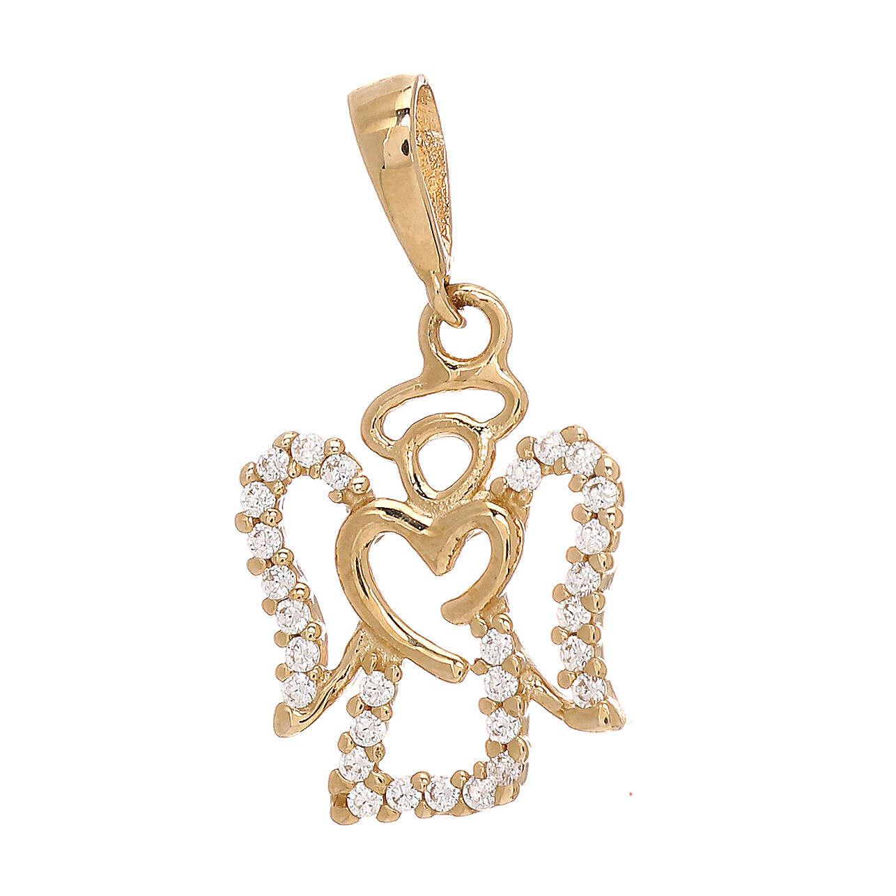 Angel pendant with heart 750/00 yellow gold Swarovski 1.2 gr 4