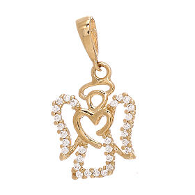 Angel pendant with heart 750/00 yellow gold Swarovski 1.2 gr s1
