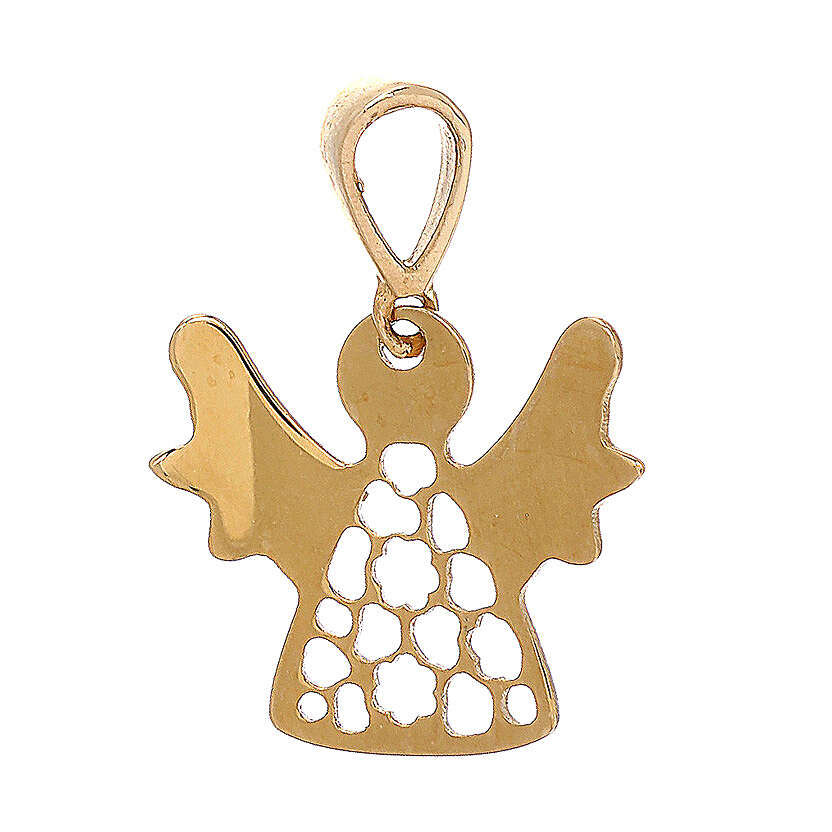 Pendant perforated angel 18-carat yellow polished gold 0.7 gr 4