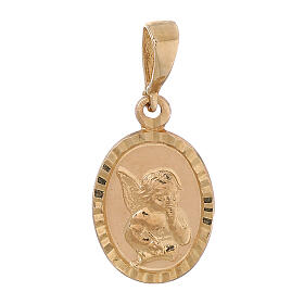 Oval pendant two finishes angel 18-carat gold 0.7 gr s1
