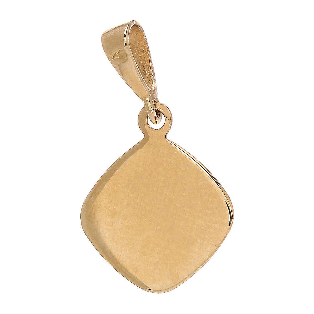 Pendente medaglietta quadrata angioletto oro giallo 750/00 0,75 gr 4