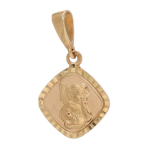 Pendant squared medal with angel 750/00 yellow gold 0.75 gr 1