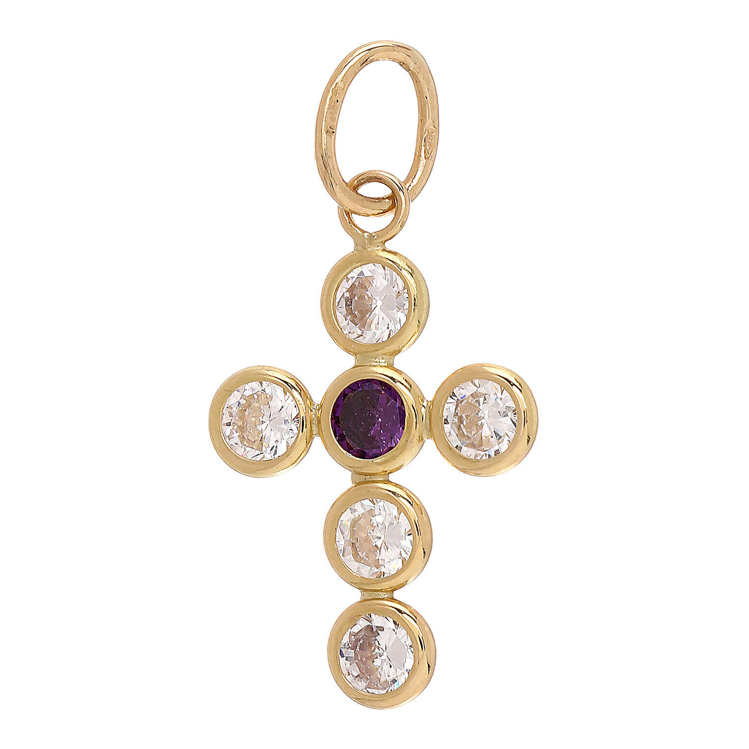 18-carat gold pendant cross round Swarovski 1.1 gr 4