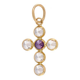 18-carat gold pendant cross round Swarovski 1.1 gr s1