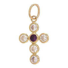 18-carat gold pendant cross round Swarovski 1.1 gr s2