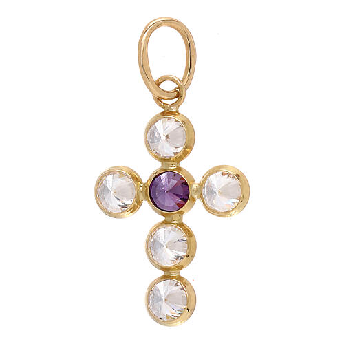 18-carat gold pendant cross round Swarovski 1.1 gr 1