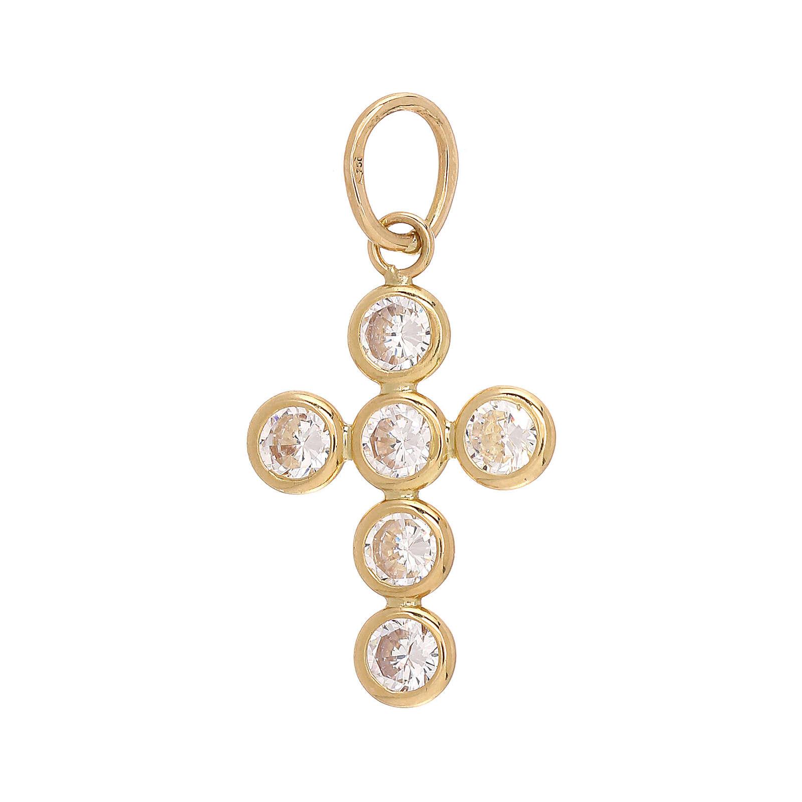 Croce pendente 6 Swarovski tondi oro 750/00 1,15 gr 4