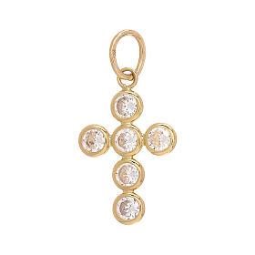 Croce pendente 6 Swarovski tondi oro 750/00 1,15 gr s2