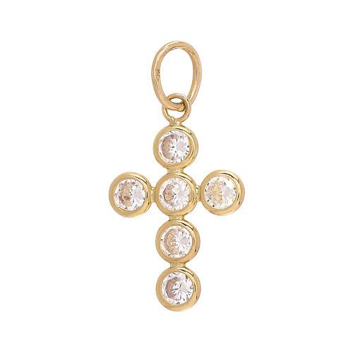 Croce pendente 6 Swarovski tondi oro 750/00 1,15 gr 2