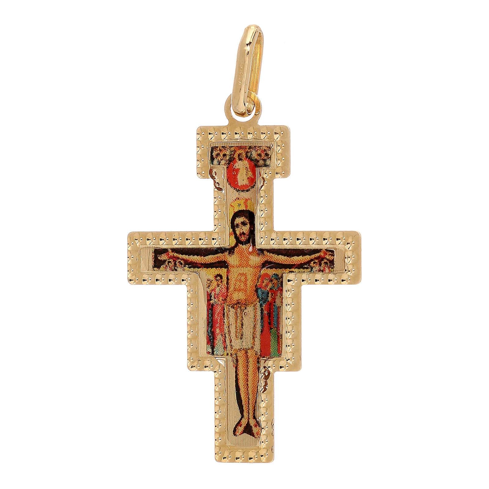 Pendente Crocefisso San Damiano oro 750/00 1,45 gr 4