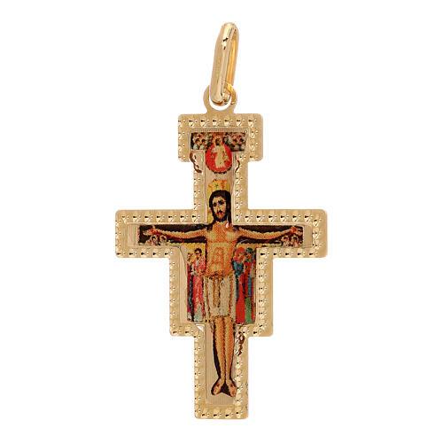 Pendente Crocefisso San Damiano oro 750/00 1,45 gr 1