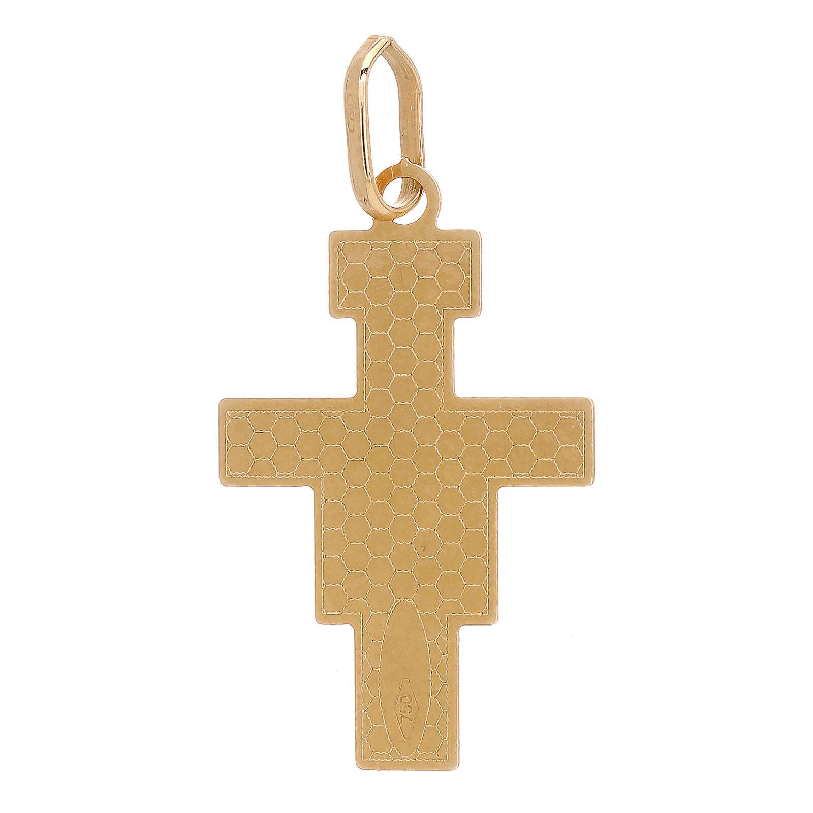 Pendentif Croix Saint Damien or 18K 1 gr 4
