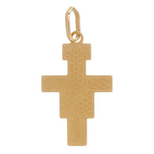 Pendentif Croix Saint Damien or 18K 1 gr 2
