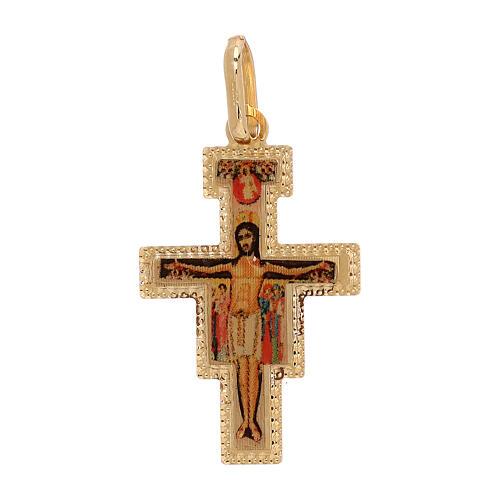 Pendente Croce San Damiano oro 18 kt 1 gr 1