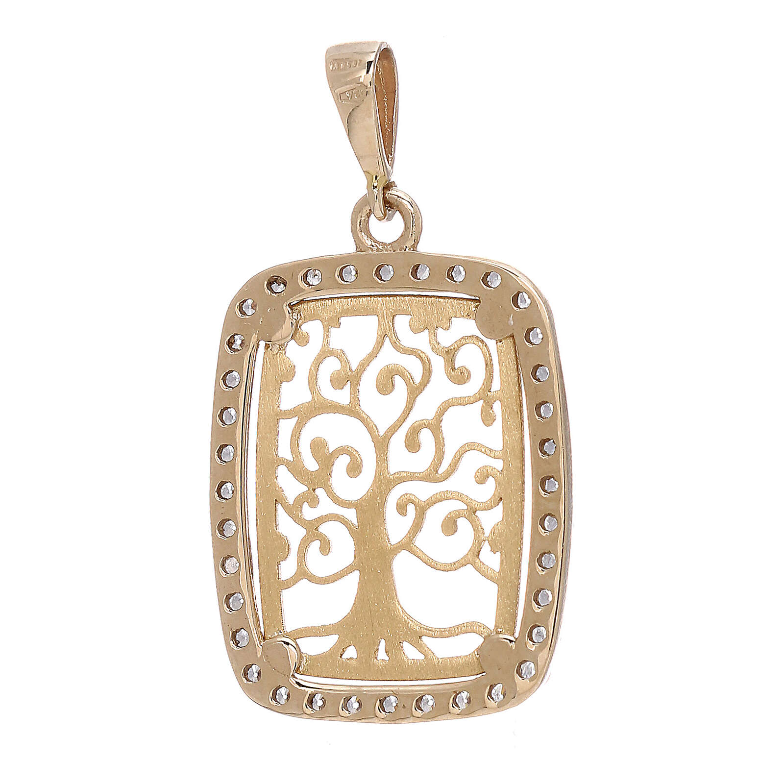 Rectangular pendant Tree of Life 18-carat bicolor gold Swarovski 4