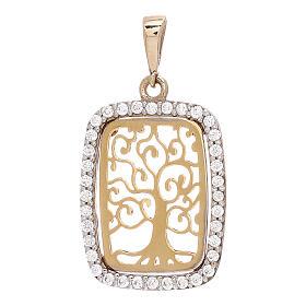 Rectangular pendant Tree of Life 18-carat bicolor gold Swarovski s1