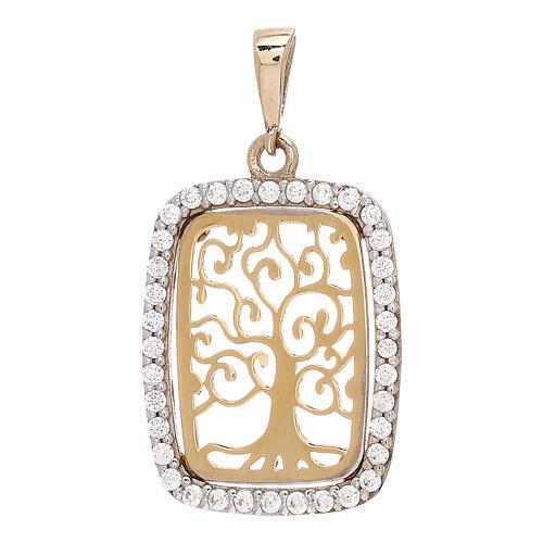 Rectangular pendant Tree of Life 18-carat bicolor gold Swarovski 1