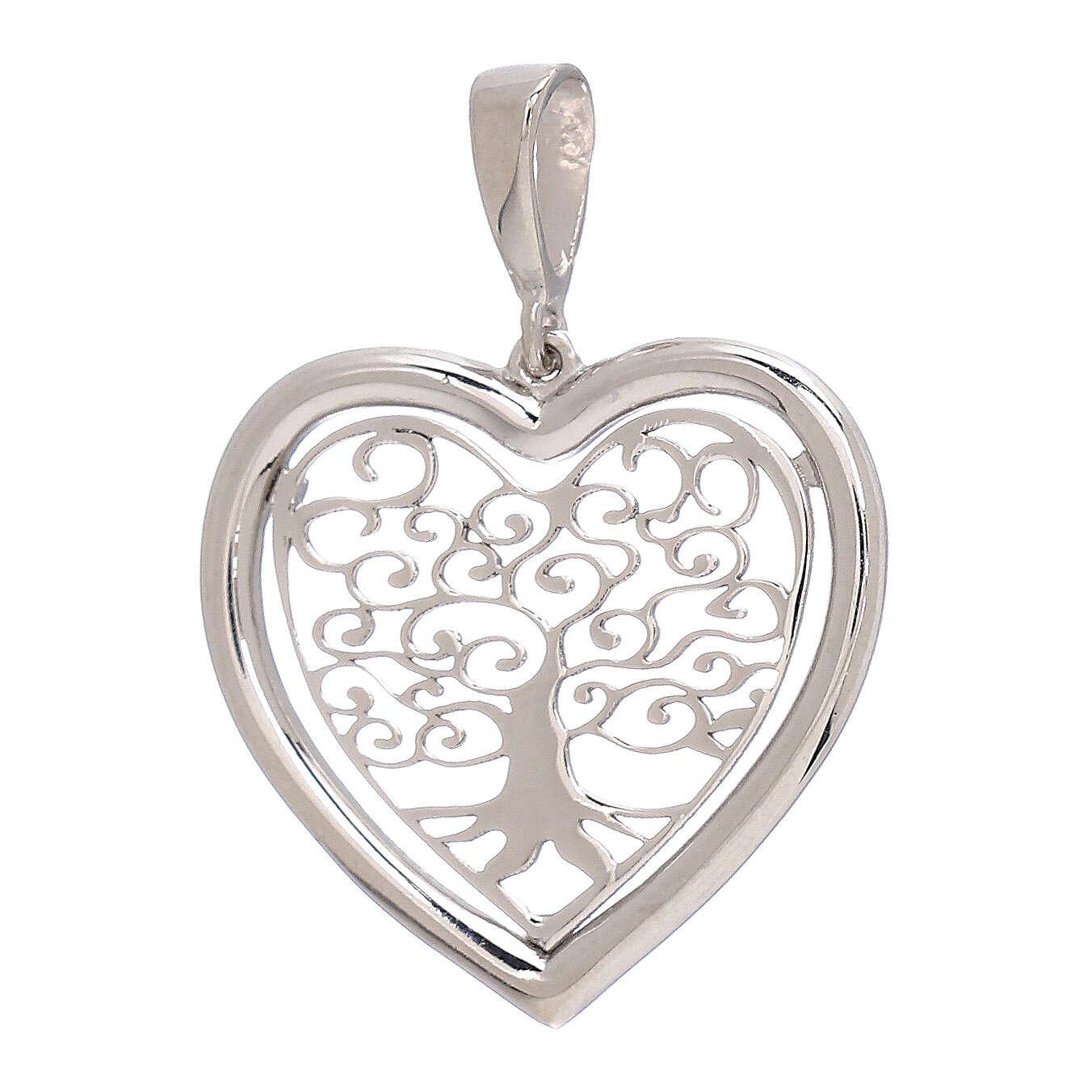 Heart shaped pendant Tree of Life 750/00 white gold 1.5 gr 4