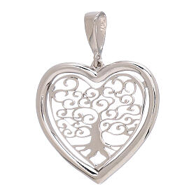 Heart shaped pendant Tree of Life 750/00 white gold 1.5 gr s1