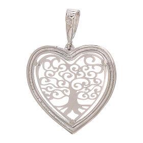 Heart shaped pendant Tree of Life 750/00 white gold 1.5 gr s2