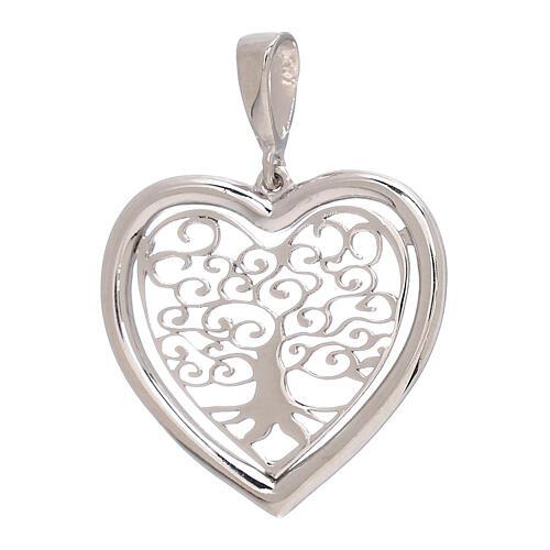 Heart shaped pendant Tree of Life 750/00 white gold 1.5 gr 1