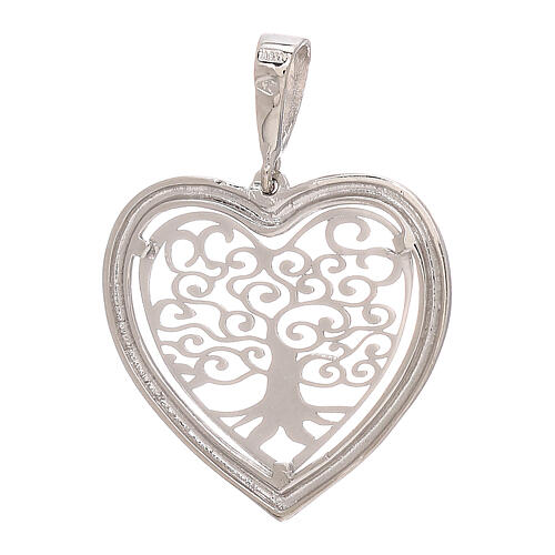 Heart shaped pendant Tree of Life 750/00 white gold 1.5 gr 2