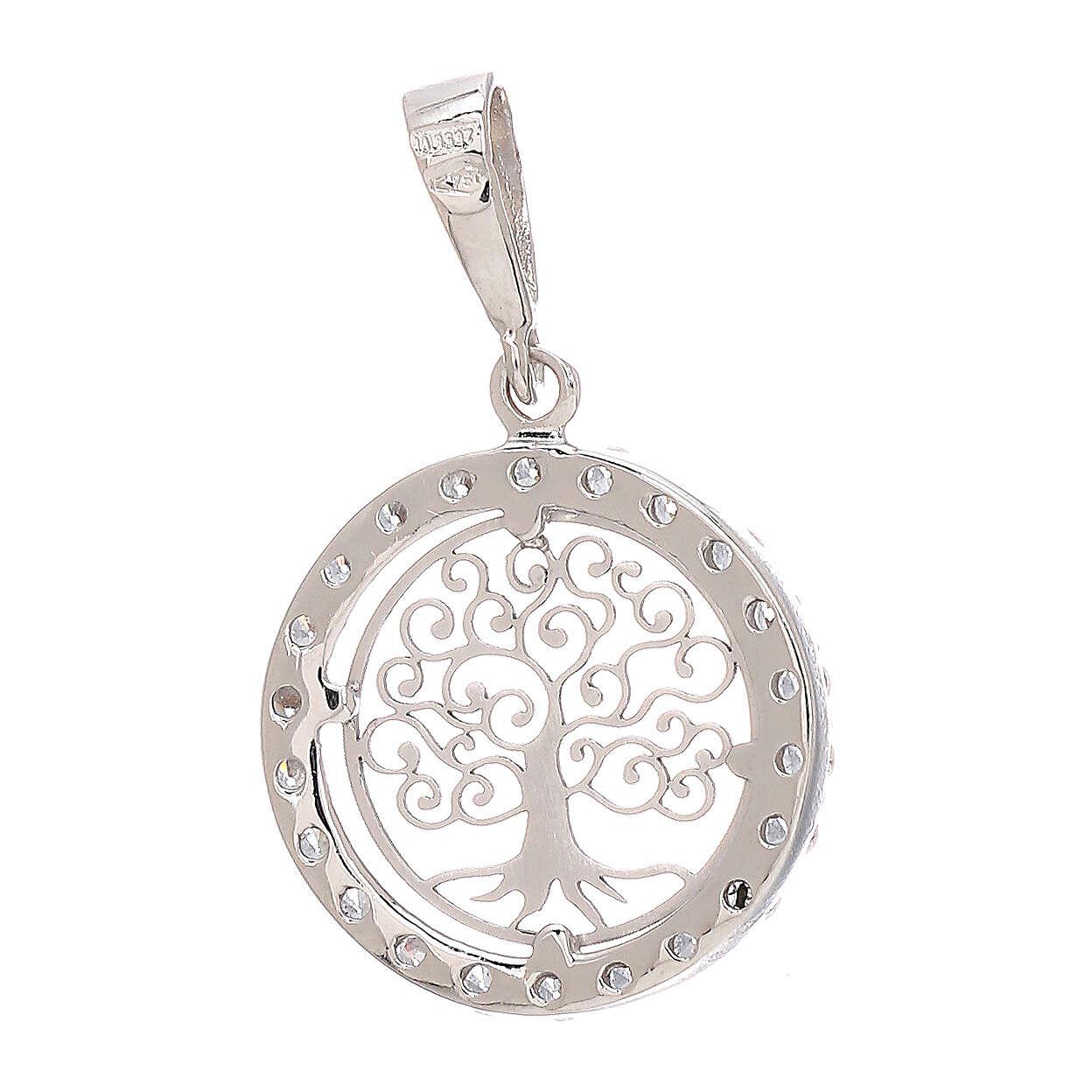 Round pendant Tree of Life 18-carat white gold Swarovski 1.2 gr 4