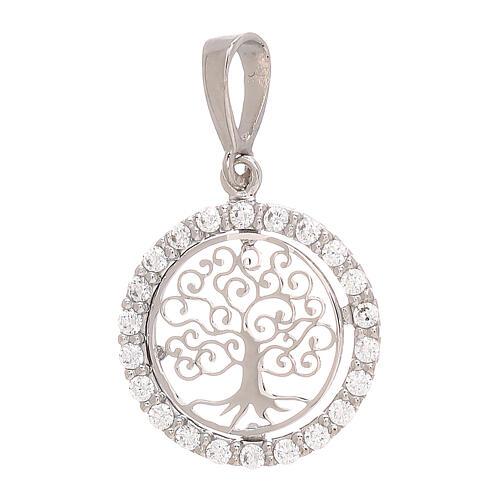 Round pendant Tree of Life 18-carat white gold Swarovski 1.2 gr 1