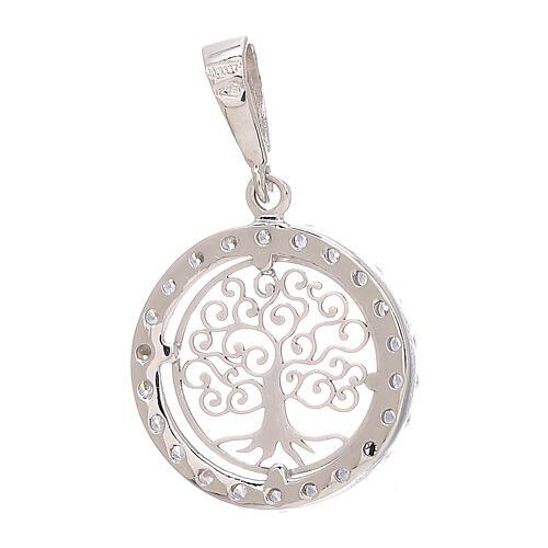 Round pendant Tree of Life 18-carat white gold Swarovski 1.2 gr 2