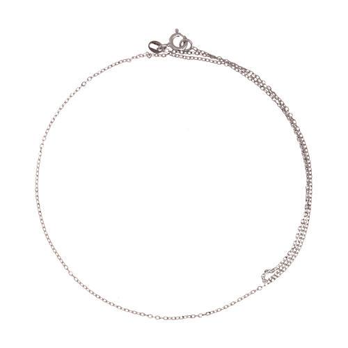 Cadena roló oro blanco 18 k diamantada 42 cm 2
