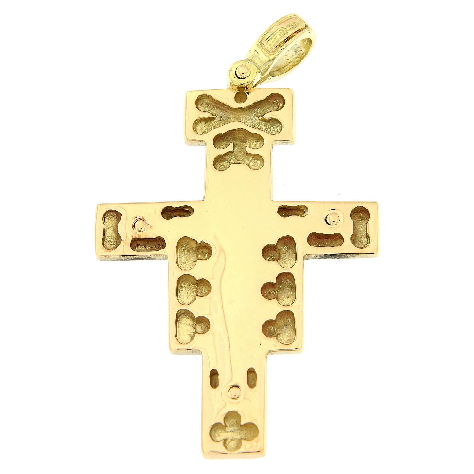 Pendente croce San Damiano oro 18 carati rilievo 8,8 gr 4