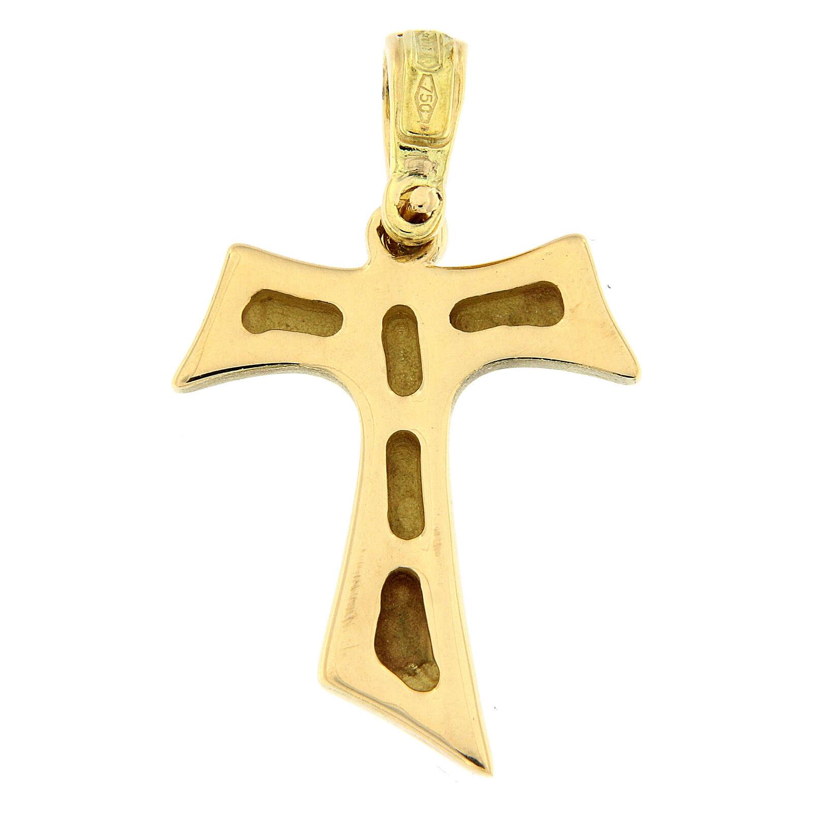 Croce Tau oro lucido 18 carati 2,1 gr 4