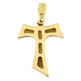 Croce Tau oro lucido 18 carati 2,1 gr s2