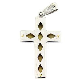 Colgante cruz satinada oro 18 k bicolor cruce central 7,5 gr s2