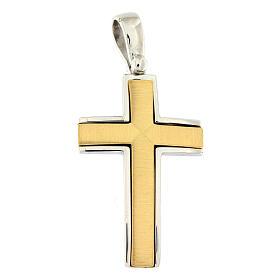 Pendente croce satinata oro 18 kt bicolore incrocio centrale 7,5 gr s1