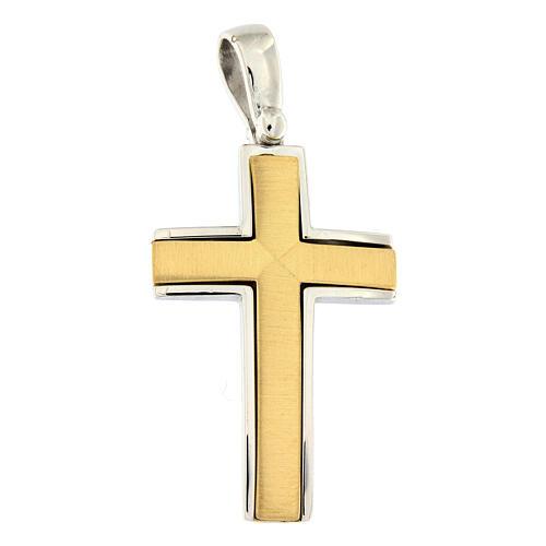 Pendente croce satinata oro 18 kt bicolore incrocio centrale 7,5 gr 1