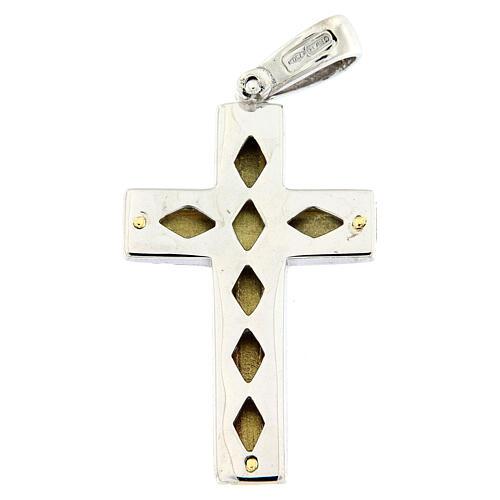 Pendente croce satinata oro 18 kt bicolore incrocio centrale 7,5 gr 2