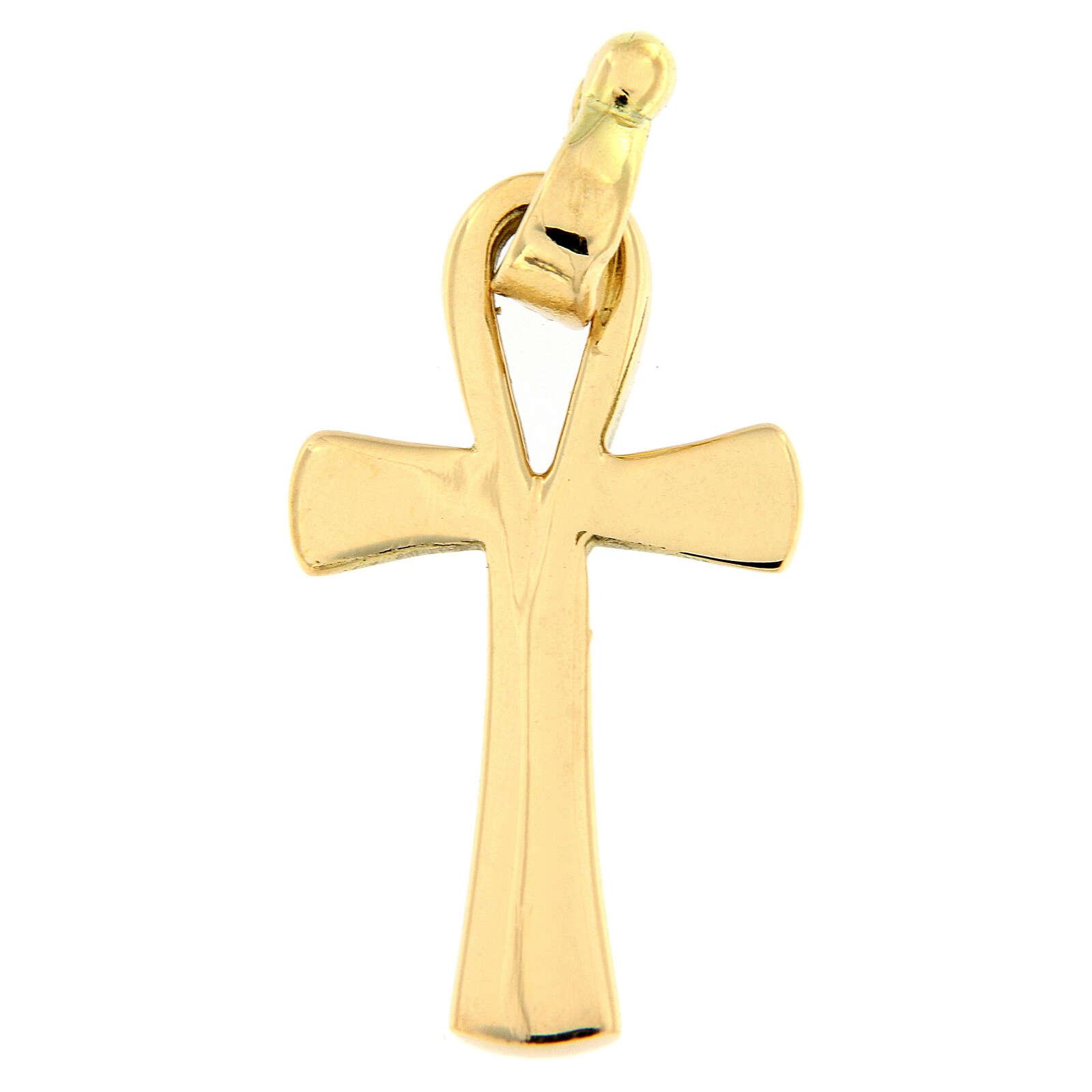 Pendente croce della vita oro lucido 18 carati 2,2 gr 4
