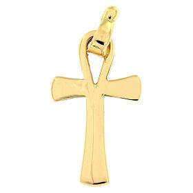 Pendente croce della vita oro lucido 18 carati 2,2 gr s1