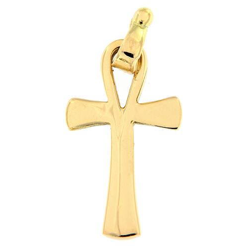 Pendente croce della vita oro lucido 18 carati 2,2 gr 1