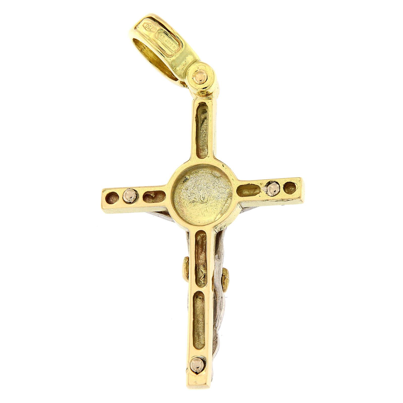 Pendente croce motivo tondo oro 18 kt bicolore 3,8 gr 4