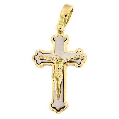Budded cross pendant 18-carat bicolor gold 5.4 gr 1